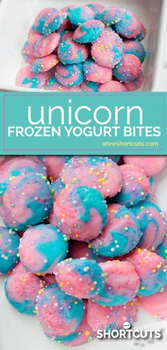 These tasty Unicorn Frozen Yogurt Bites are a fun way to enjoy the unicorn trend in a healthy way. Snag this magical recipe!