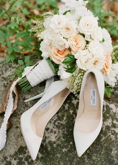 Jimmy Choo Wedding Shoes and Flowerwild Bouquet | Jose Villa | blog.theknot.com
