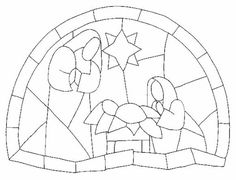 Stained glass paint and print - Imagui Stained Glass Christmas, Stained Glass Crafts, Faux Stained Glass, Stained Glass Patterns, Nativity Crafts, Christmas Nativity, Noel Christmas, Christmas Colors, Church Banners