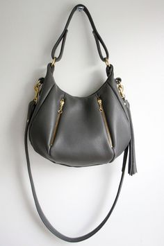 Gray Leather Bag - OPELLE Baby Ballet Bag - Pebbled Leather Purse w Zipper Pockets in Smoke. $268.00, via Etsy.