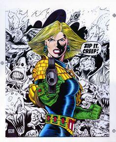 Here's a great cover illustration by Brett Ewins. I always loved Brett's Judge Anderson. Comic Book Pages, Comic Book Artists, Comic Book Covers, Comic Book Characters, Comic Artist, Comic Character, Comic Books Art, Judge Dread, 2000ad Comic