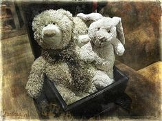 Three stuffed animals in a box are waiting for the kids to give them some care and affection..in return, children will surely receive tenderness and softness from these teddy bears and mister bunny...The fluffy good chaps are vintage looking, so are the decor and the background of this scene, that will be adorable in a children's room, nursery or playroom..^_^