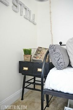 DIY card catalog side tables made from a dining chair seat & a filing cabinet! - lizmarieblog.com