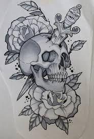 Resultado de imagem para tatuagem traditional skull