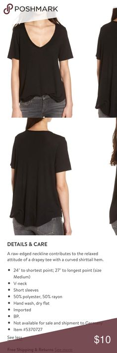 NWOT BP Nordstrom Raw Edge V neck Tee Black Size Large NWOT BP brand at Nordstrom Product details depicted in picture Nordstrom Tops Tees - Short Sleeve