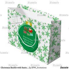 Christmas Bauble with Santa & Sleigh Snowflakes Large Gift Bag