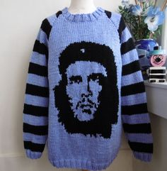 318089f1aa80 Details about Che Guevara Image Hand Knitted Striped Lilac Sweater by  Bexknitwear