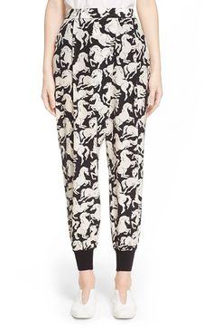 Stella McCartney 'Joey' Horse Print Silk Pants available at #Nordstrom