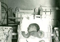 Vintage Photo: Newborn Baby in Hospital Nursery Window.