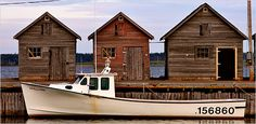 A fishing boat at the wharf in Naufrage, Prince Edward Island, Canada. Article by Frank Bruni, New York Times. Prince Edward Island, Pei Canada, Boat Painting, Anne Of Green Gables, New Brunswick, Beautiful Islands, Beautiful Places, Newfoundland, Canada Travel