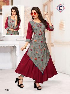 Kurti Sleeves Design, Kurti Neck Designs, Dress Neck Designs, Kurti Designs Party Wear, Churidar Designs, Indian Gowns Dresses, Indian Outfits, Frock Fashion, Fasion