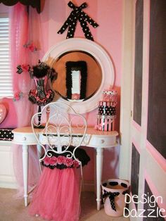 Gorgeous DIY: Parisian Chair by Design Dazzle! Poodles, Paris and Pink oh my! Chalkboard doors and cute details.