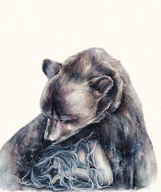 Watercolour Illustration by Oksana Dimitrenko — Designcollector Bear Spirit Animal, Spirit Bear, Bear Tattoos, Bear Art, Illustrations, Watercolor Illustration, Painting & Drawing, Fantasy Art, Cool Art