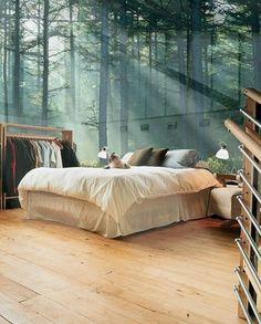 Best Natural Bedroom Design Ideas - Page 42 of 121 Dream Bedroom, Home Bedroom, Bedroom Wall, Girls Bedroom, Bedroom Decor, Bedroom Ideas, Forest Bedroom, Bedrooms, Modern Bedroom