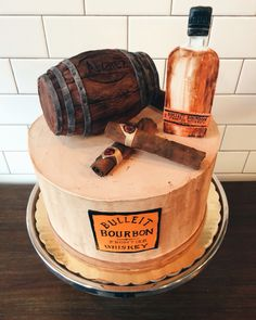 Bourbon and cigar themed groom's cake
