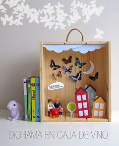Elena, del creativo blog Mi casa en cualquier parte nos ha mandado para el campamento un diorama hecho en una caja de vino. Según la ... Home Crafts, Diy And Crafts, Crafts For Kids, Easy Art For Kids, Shadow Box Art, 3d Quilling, Wall Decor Design, Diy Art Projects, Paper Crafts Origami