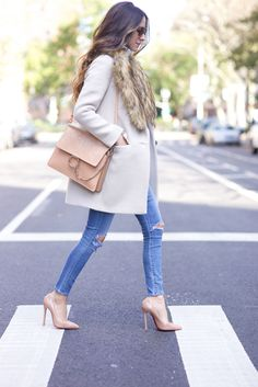 Coat: Kate Spade / Sweater: AYR / Jeans: Citizens of Humanity / Nude Pumps: Christian Louboutin / Bag: Chloe Faye / http://FashionCognoscente.blogspot.com
