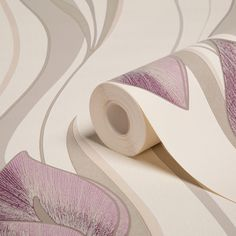 Peace Lilies Cream & Plum Wallpaper | Departments | DIY at B&Q