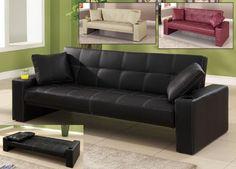 1pc Contemporary Modern Leatherette Futon Sofa Bed