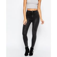 Missguided Vice High Waisted Skinny Jean ($38) ❤ liked on Polyvore featuring jeans, grey, skinny fit jeans, tall jeans, grey jeans, high-waisted skinny jeans and super high-waisted skinny jeans
