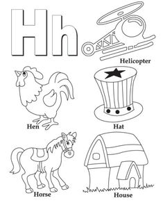 The Letter H And A Variety Of Coloring Pages