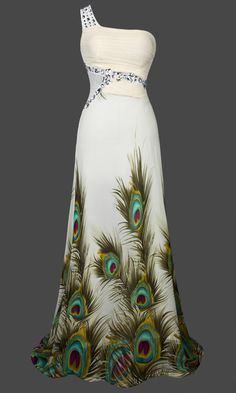 Peacock Evening Dress | Maybe replace the rhinestones with a blue stone.