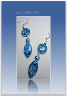 Royal Blue & Ice Blue Earrings, polymer clay jewelry. $14.00, via Etsy.
