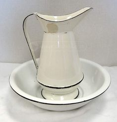 White Enameled Metal Pitcher and Basin