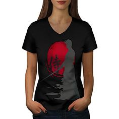 Samurai Silhouette Oriental Sun Women NEW Black L VNeck Tshirt  Wellcoda >>> You can find more details by visiting the image link.