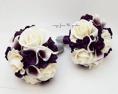 Purple Wedding Bridesmaid Bouquets Hydrangea Roses Picasso Callas