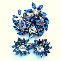 Vintage Heliotrope Sapphire Blue Rhinestone Flower Brooch Earring from jordyb on Ruby Lane