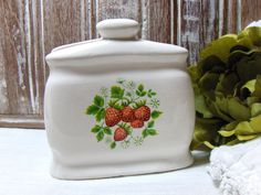 Vintage Strawberry Napkin Holder  3610 by MyVintageAlcove on Etsy, $12.95
