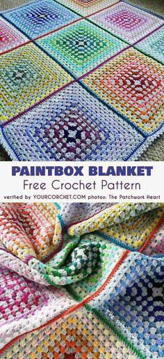 Paintbox Blanket Free Crochet Pattern #freecrochetpatterns #crochetblanket #grannysquare #babyblanket
