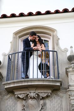 OANA FOTO - A Blush Vintage Wedding at the Muckenthaler Cultural Center in Fullerton, California - Romantic Balcony