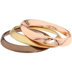 BCBGeneration Metal Bracelet Rose Gold Tritone Bangle Set ($38) ❤ liked on Polyvore featuring jewelry, bracelets, accessories, jewels, rings, rose gold bangle, metal bracelet, bangle set, hinged bangle bracelet and stackable bracelet