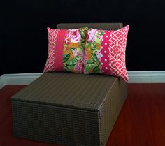 Double Cushion Cover  Pink Lime Lattice Floral by RockinCushions, $44.00 Love the shades of pink and green!