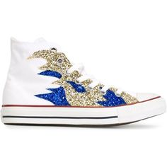 Converse Sequin Flame Sneakers (5,905 INR) ❤ liked on Polyvore featuring shoes, sneakers, white sneakers, white trainers, cotton shoes, sequin sneakers and converse sneakers