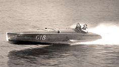 """George Reis winning the Gold Cup in his Hacker Craft El Lagarto in 1935, the famous """"Leaping Lizard of Lake George."""" (my grandmother rode in that boat!)"""