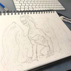 Quick sketch of a skull faced dragon . . . #art#artist#artistsoninstagram#instaart#instadraw#artwork#draw#drawing#illustration#artoftheday #dragon #skull #conceptart #originalart #pencil #sketch #sketchbook #fantasy