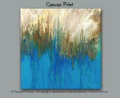 Square canvas print of modern abstract painting by Denise Cunniff. Colors in this artwork include shades of blue, gold, yellow, brown, turquoise, and teal green. Unique wall art for home or office decor - ArtFromDenise.com. View more info at https://www.etsy.com/listing/464320941