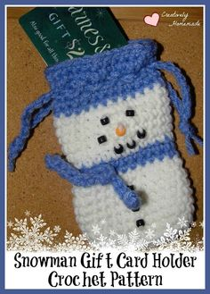 Snowman Gift Card Holder Crochet Pattern | Creatively Homemade - Featured at the #HomeMattersParty 61