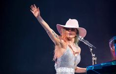 Lady Gaga performs onstage during the Lady Gaga 'Joanne' World Tour at Little Caesars Arena on November 7 2017 in Detroit Michigan