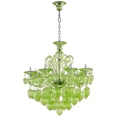 Bella Green Glass Chandelier