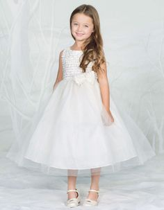 Ruffle Trimed Bodice with Tulle Skirt