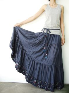 NO.25  Greyish Blue Cotton, Hippie Gypsy Boho Tiered Long Peasant Skirt. $42.00, via Etsy.