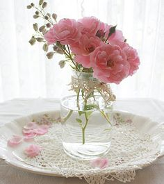 Love the flowers, the plate and the crochet. Gorgeous.