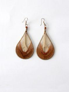 vintage string art Peruvian thread earrings