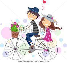 Cartoon Stick Figures Holding Hands   Illustration of a Stick Figure Couple on a Bike - stock vector
