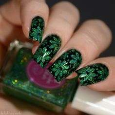 Cupcake Polish Delishiously Jaded with flower nail art stamping design