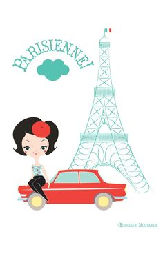 Free printable: Parisienne! The French Parisian lady in front of the Eiffel Tower poster (click on image to get a large version).